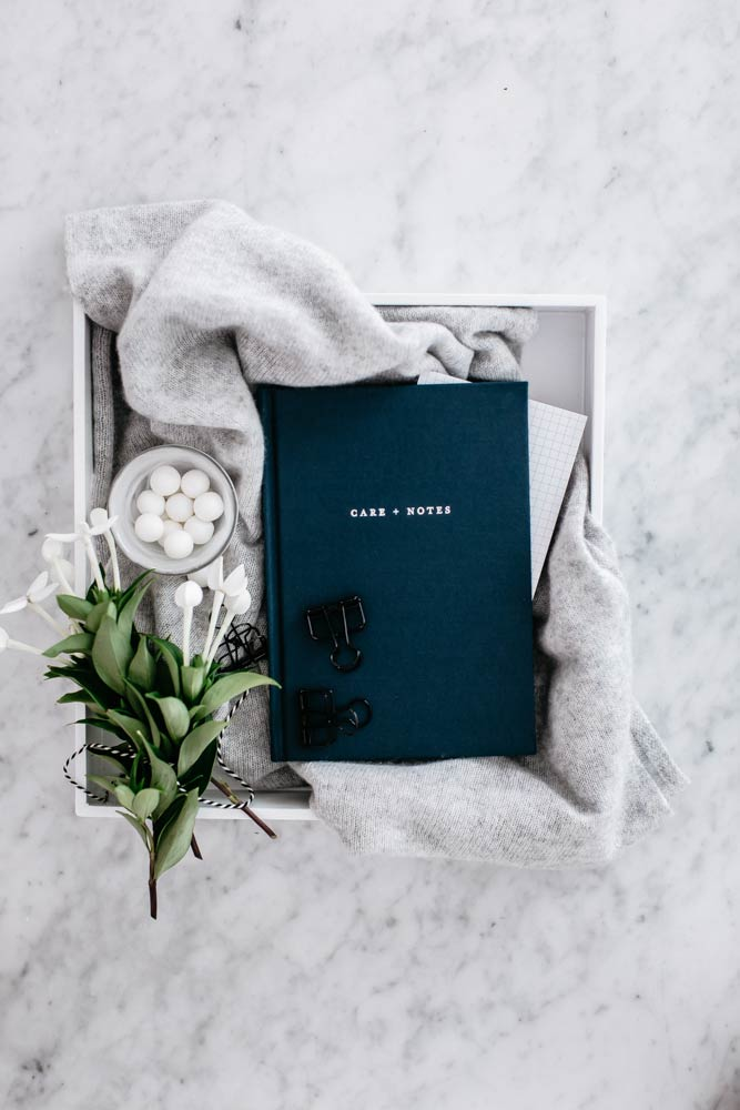 Image showing The Grace Files Care + Notes journal in a beautiful gift box, ideal for someone in hospital.