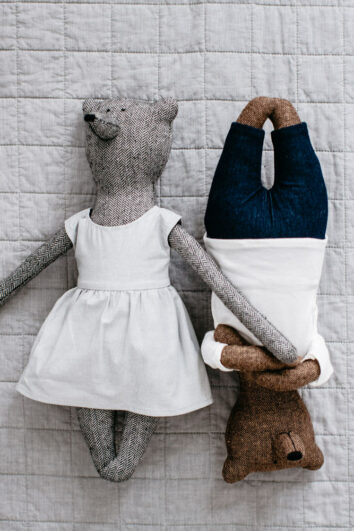 Grace Bear in Grey with Henry Bear in Brown, a gorgeous option for baby's first teddy bear