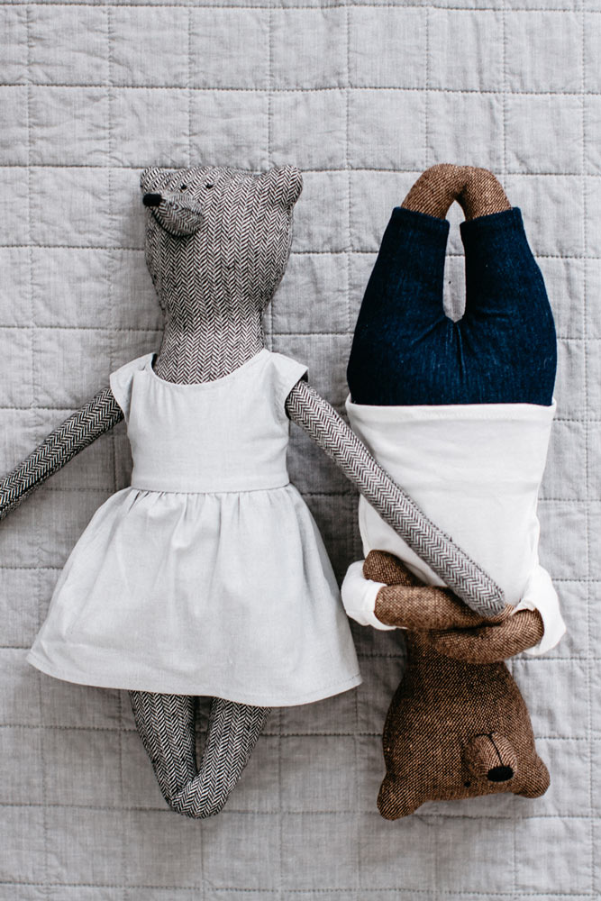 A photo of The Grace Files Grace Bear in Grey with Henry Bear in Brown, a first teddy bear for a baby boy or baby girl