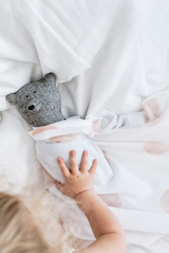 Organic Swaddling Wrap and grey Bear • gifts by the grace files