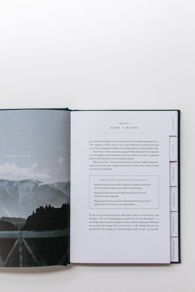 A look inside Care + Notes, a journal by the grace files