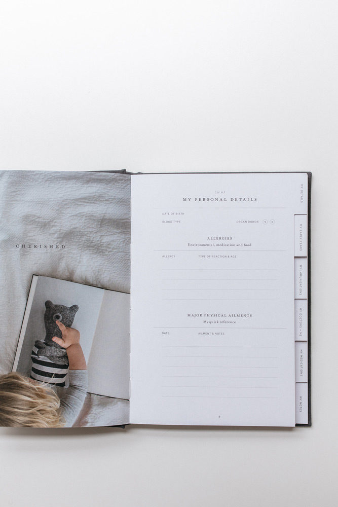 A look inside Life + Notes, a childhood health journal by the grace files